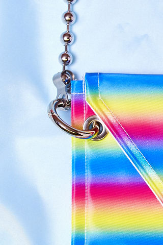 RAINBOW,CROSS,BODY,BAG,somewhere nowhere, hong kong, london, online shop, glitter bag, international shipping, wordwide shipping, free, discount, cheap, sparkle, cross body bag, ball chain, clothing, brand, designer, love, rainbow, colours, label, sweatshop free, customise, han