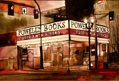 Portland's,Powell's,Bookstore,portland or, powells, bookstore, india ink, illustration, art