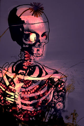 Night,Light,poster, art, illustration, skeleton