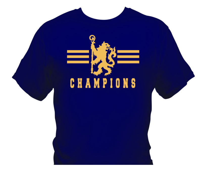 'Champions 1' T-Shirts  Gold/Navy   (Adults and Kids)       - product image