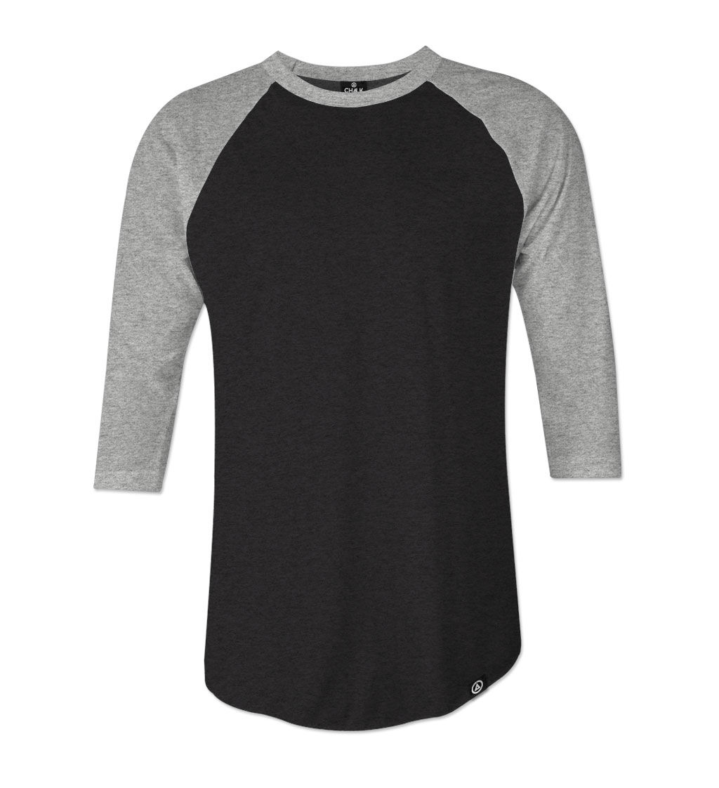 Black t shirt unisex -  Chalkdust Lifestyle Unisex Black 3 4 Sleeve Baseball T Shirt Product Images Of