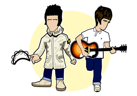 Gallaghers,Print........,oasis , noel gallagher , liam gallagher , music , madchester , definitely maybe , illustration , aguycalledminty , print , design