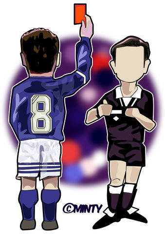 Gazza,the,card.....,...........,Print..,gazza , rangers , referere , scottish football , football , paul gasgoinge , yellow card, art , artwork , illustration , design , drawing , vector