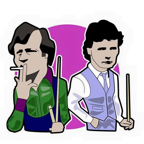 Higgins,&,White,Jimmy White , Alex Higgins , snooker , 1980s , artwork , illustration , vector , design