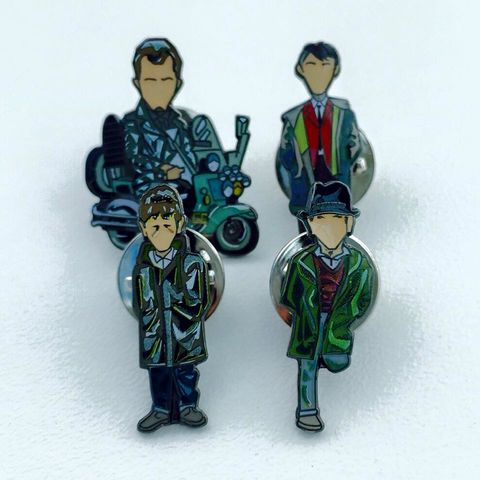 Quadrophenia,pin,set..,Artwork, Pinset , Quadrophenia , film , Mod , Rockers , design , ace , jimmy , dave , chalky , mod , rockers ,