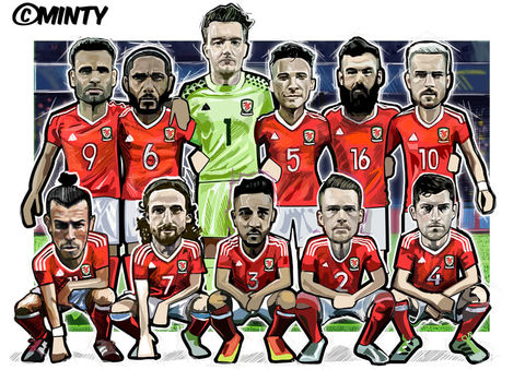 Wales,Euro,2016,print........,Wales , Euro 2016 , together stronger , don't take me home Gareth Bale , aaron ramsey , joe allen , joe medley, illustration , artwork , football , Wales , faw , vector , design