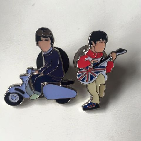 Noel,&,Liam,pin,badge,........, Liam, liam gallagher , oasis , maine road , music , Manchester, Manchester  football , terraces , hooligan , pin badge , fishers mans friend ,Artwork, Pinset , Quadrophenia , film , Mod , Rockers , design , ace , jimmy , dave , chalky , mod , rocker