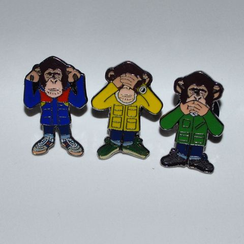 Three,wise,monkeys,pin,set,Three wise monkey , Only fools and horses ,Noel, Liam, liam gallagher , oasis , maine road , music , Manchester, Manchester  football , terraces , hooligan , pin badge , fishers mans friend ,Artwork, Pinset , Quadrophenia , film , Mod , Rockers , design