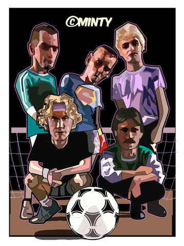 Trainspotting,5s,Print.,trainspotting , renton , spud , veggie , sick boy, film , drugs , subculture , together stronger , don't take me home Gareth Bale , aaron ramsey , joe allen , joe medley, illustration , artwork , football , Wales , faw , vector ,