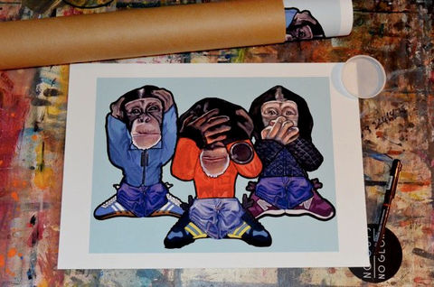 Three,Wise,Monkey,Print