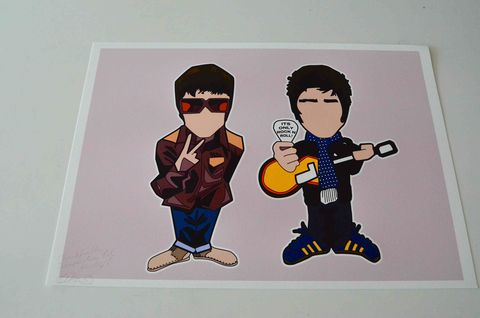 Its,only,Rock,n,Roll,A3,Print.......,Aguycalledminty, Liam Gallagher, Noel Gallagher, madchester , music,  madchester, illustration.