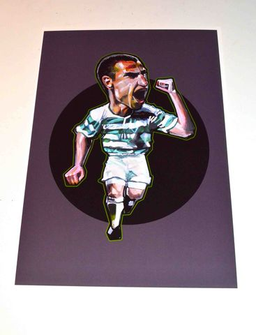 Henrik,A3,print.....,henrik larsson ,celtic, aguycalledminty, illustration,football , casual, swedish, legend