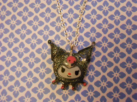 Kuromi,Necklace,Super kawaii silver and black glitter glittery kuromi character anime manga pendant silver gold necklace chain cute pendant