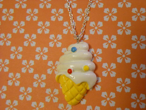 Ice,Cream,Necklace,Super kawaii food white ice cream cone pendant silver gold necklace chain cute pendant