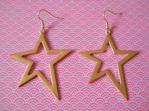 Shooting,Star,Earrings,large oversized gold star earrings shiny harajuku