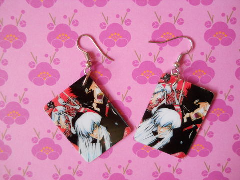 Manga,Earrings,anime character manga harajuku funky black red white earrings