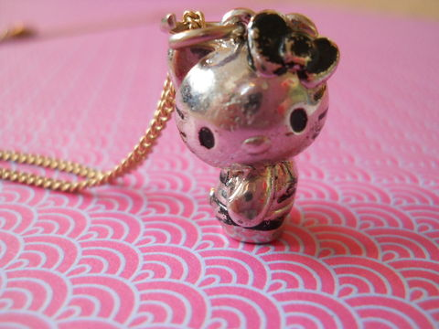 Shy,Kitty,Necklace,kawaii Hello Kitty silver gold necklace chain cute pendant