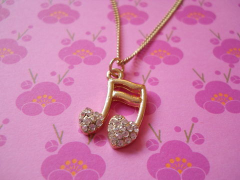 Melody,Necklace,kawaii harajuku silver gold necklace chain cute musical note music pendant