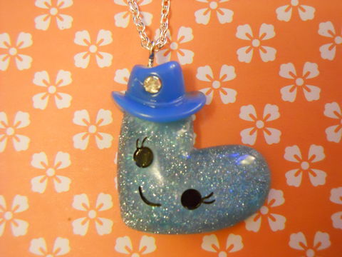 Blue,Heart,Hat,Necklace,Super kawaii glittery smiley face wearing a hat pendant silver gold necklace chain cute pendant