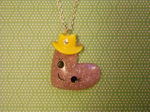 Lilac,Heart,Hat,Necklace,Super kawaii glittery smiley face wearing a hat pendant silver gold necklace chain cute pendant