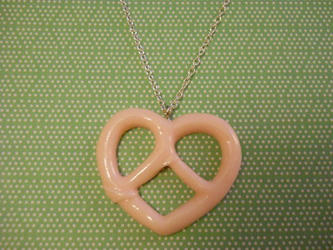 Pink,Pretzel,Necklace,Super kawaii food large baby pink pretzel shape  pendant  silver gold necklace chain cute pendant