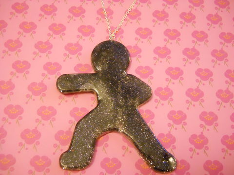 Junzuki,Necklace,martial arts harajuku kawaii Junzuki karate punch silhouette filled with black and silver glitter silver gold necklace chain cute pendant