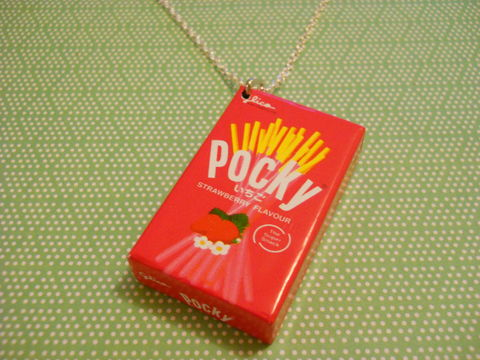 Strawberry,Pocky,Necklace,kawaii fruit strawberry food chocolate sweets candy harajuku pocky necklace silver gold