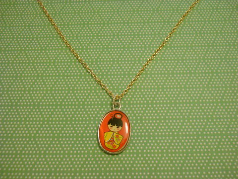 Red,Geisha,Necklace,kawaii harajuku red geisha russian doll dolly kimono japanese silver gold necklace chain cute pendant