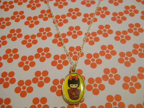Yellow,Geisha,Necklace,kawaii harajuku yellow geisha russian doll dolly kimono japanese silver gold necklace chain cute pendant