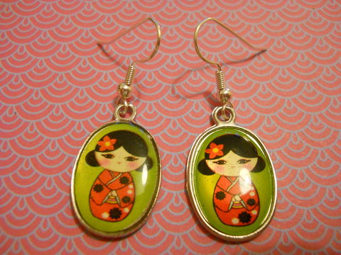 Green,Geisha,Earrings,harajuku kawaii green cute geisha kimono silver plated drop earrings