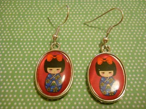 Pink,Geisha,Earrings,harajuku kawaii pink cute geisha kimono silver plated drop earrings