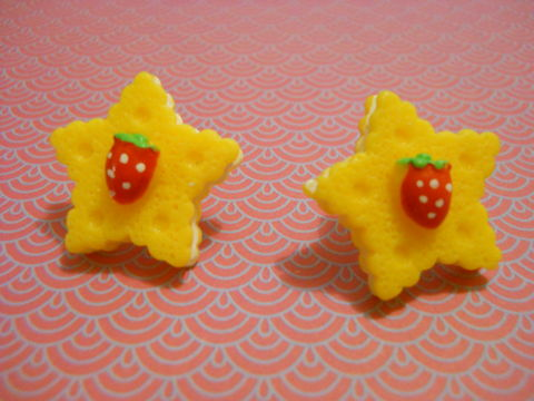 Yellow,Strawberry,Star,Earrings,harajuku kawaii yellow strawberry cake sweets fruit food stars stud earrings