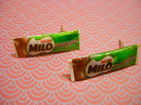 Milo,Earrings,harajuku kawaii chocolate Milo candy sweets food drink stud earrings