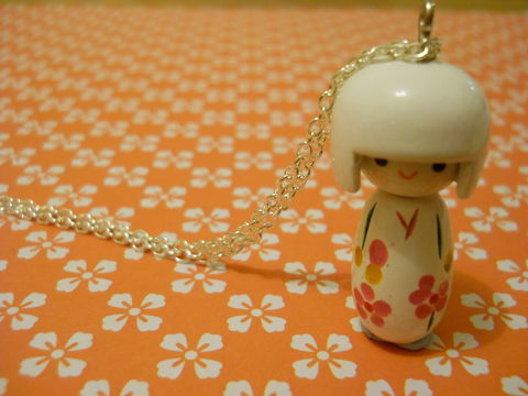 White,Kokeshi,Doll,Necklace,kawaii harajuku white kokeshi doll geisha russian doll dolly kimono japanese silver gold necklace chain cute pendant