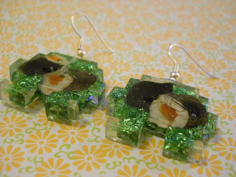 Maki,Sushi,Space,Invader,Resin,Earrings,harajuku kawaii maki sushi rolls green space invader sparkly glitter resin rice seaweed onigiri sushi roll japanese food silver plated drop earrings