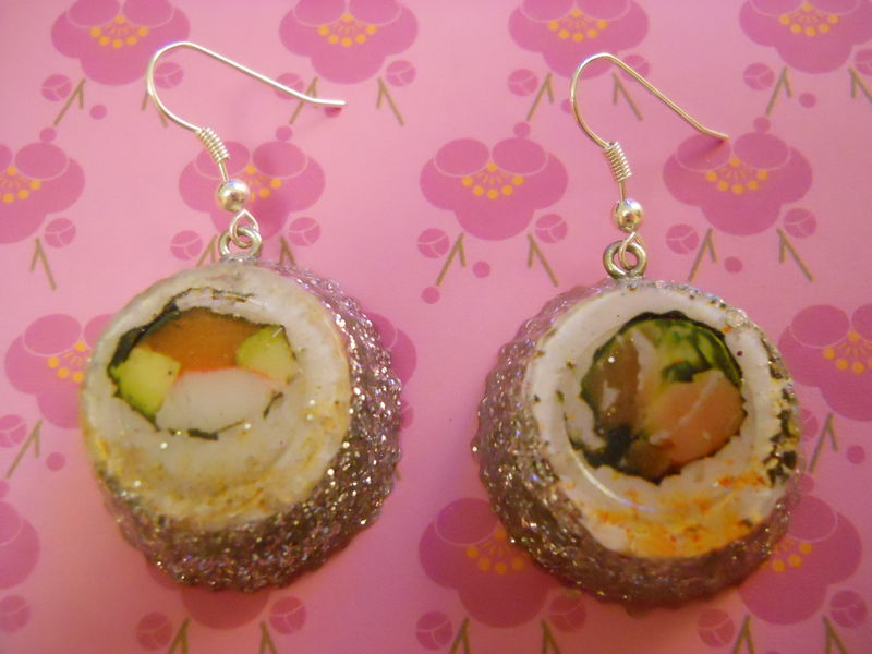 Maki Sushi Silver Wagashi Resin Earrings - product images  of