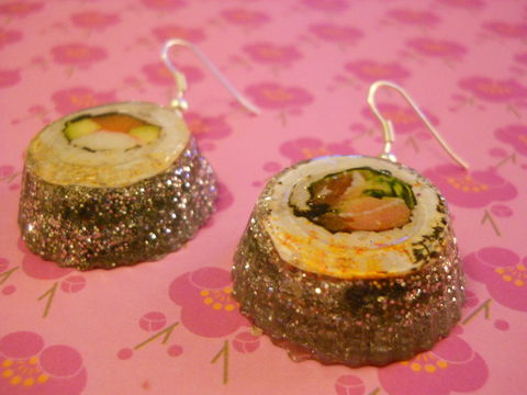 Maki,Sushi,Silver,Wagashi,Resin,Earrings,harajuku kawaii wagashi silver maki sushi rolls sparkly glitter resin rice seaweed onigiri sushi roll japanese food silver plated drop earrings