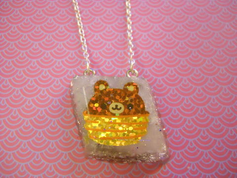 Silver,Teddy,Bear,Resin,Necklace,Super kawaii brown glittery bear in a basket wagashi diamond shaped resin pendant filled with silver glitter  and backed with silver glitter. The pendant also features a dog with cherries and a cake  silver gold necklace chain cute pendant