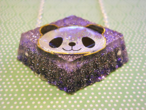 Purple,Panda,Resin,Necklace,harajuku silver necklace chain cute pendant Super kawaii wagashi diamond shaped resin pendant filled with purple glitter. The pendant features a picture of kawaii glittery panda.