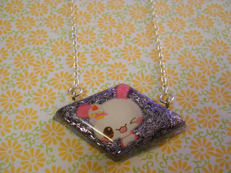 Purple Rabbit Diamond Resin Necklace - product images  of