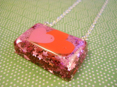 Pink,Star,Heart,Love,Rectangle,Resin,Necklace,harajuku silver necklace chain cute pendant Super kawaii rectangle shaped resin pendant filled with pink star confetti. The pendant features a picture of a pink and red kawaii heart.