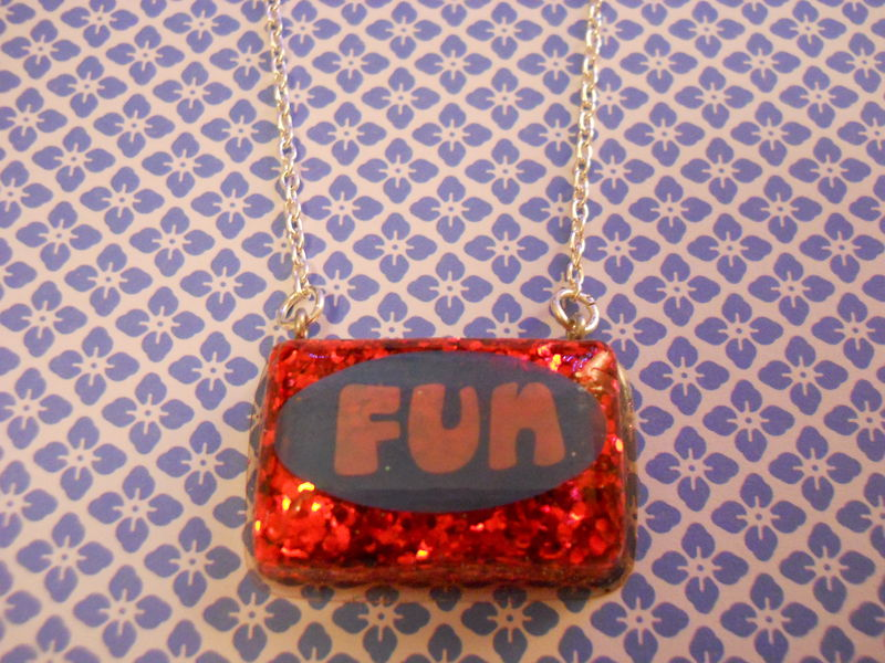 Red Fun Rectangle Resin Necklace - product images  of