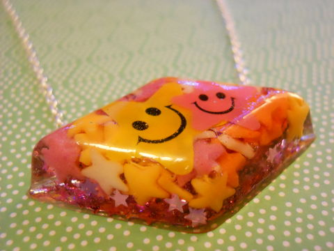Candy,Stars,Diamond,Resin,Necklace,harajuku silver necklace chain cute pendant Super kawaii diamond shaped resin pendant filled with pink, yellow and orange sugar candy star shaped 100s and 1000s. back of the pendant is covered with shiny pink star confetti.  The pendant features a yellow