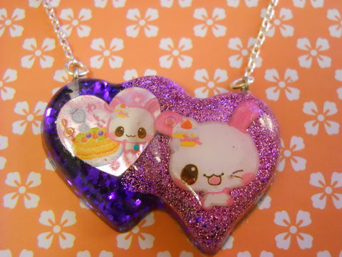 Double,Whammy,Resin,Heart,Necklace,harajuku silver necklace chain cute pendant Super kawaii double heart shaped resin pendant filled with pink and dark purple glitter. The pendant also features two images of cute kawaii rabbits and cakes.