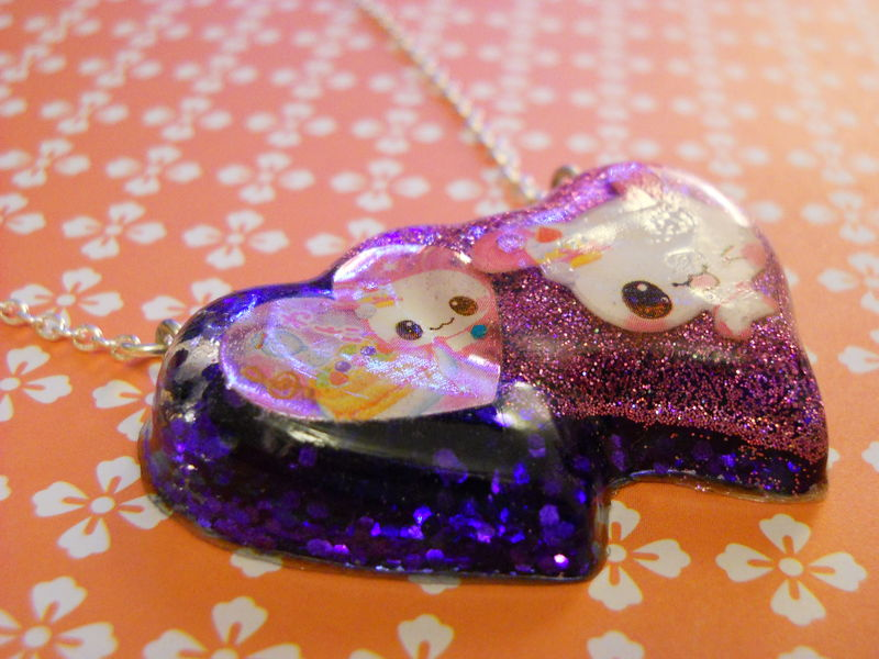 Double Whammy Resin Heart Necklace - product images  of