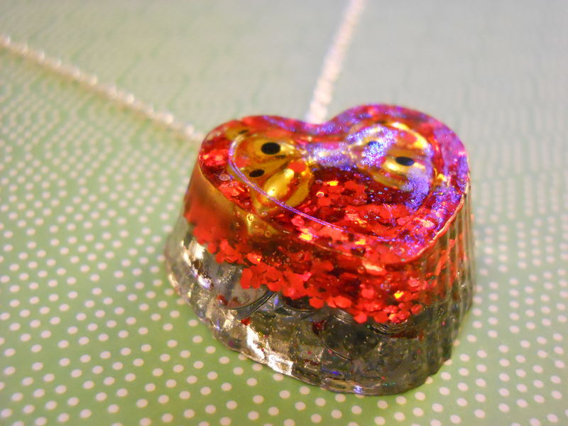 Gold Bow Love Heart Resin Necklace - product images  of