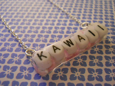 Pink,and,White,Candy,Heart,'Kawaii',Rectangle,Resin,Necklace,harajuku silver necklace chain cute pendant Super kawaii rectangle shaped resin pendant filled with pink and white heart shaped sugar candy 100s and 1000s. The pendant also features the personalised 'KAWAII' logo.