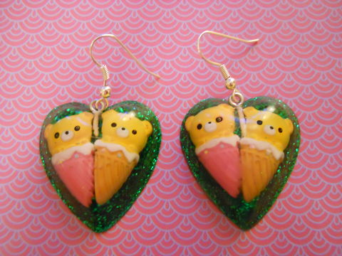 Green,Teddy,Bear,Love,Resin,Earrings,harajuku Super kawaii heart shaped resin earrings filled with dark green glitter decorated with a kawaii teddy bears in ice cream cones all on silver plated earring hooks.