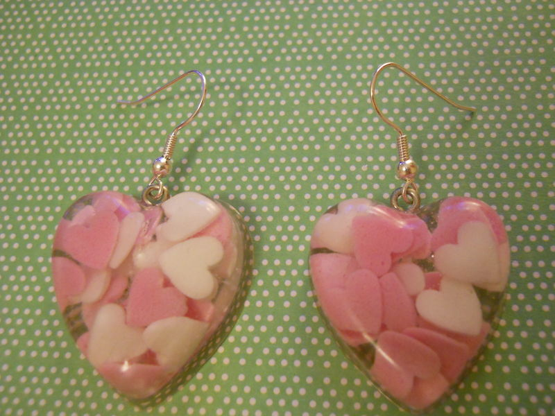Candy Pink White Love Heart Resin Earrings - product images  of