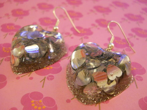 Silver,Love,Heart,Resin,Earrings,harajuku Super kawaii heart shaped resin earrings filled with silver heart shaped confetti on silver plated earring hooks.